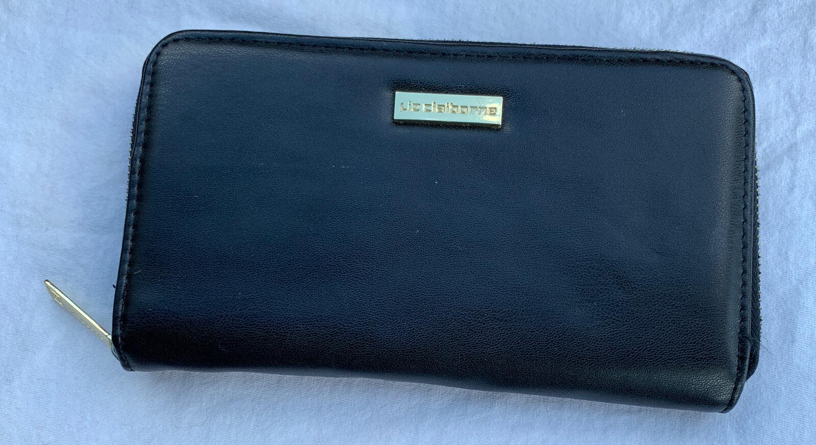 Liz Claiborne Women's Zip-Around Black Wallet Faux Leather