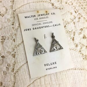 Vintage-Jobs-Daughters-Sterling-Charms-Honored-Queen-Senior-Princess-Masonic-925