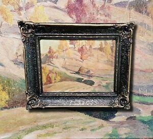 Impressionistische-Herbst-Landschaft-Original-altes-Olgemaelde-signiert
