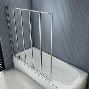 1200x1400mm New 5 Fold Folding Shower Bath Screen Glass