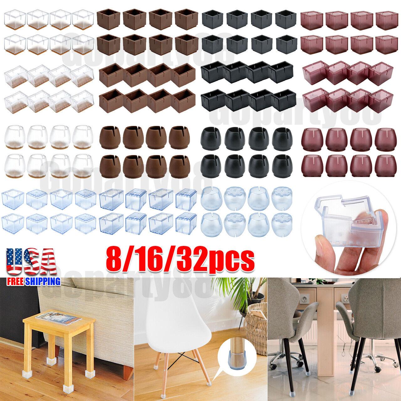 Clear PVC Chair Leg Caps End Feet Cover Furniture Grippers Floor Protector 24pcs