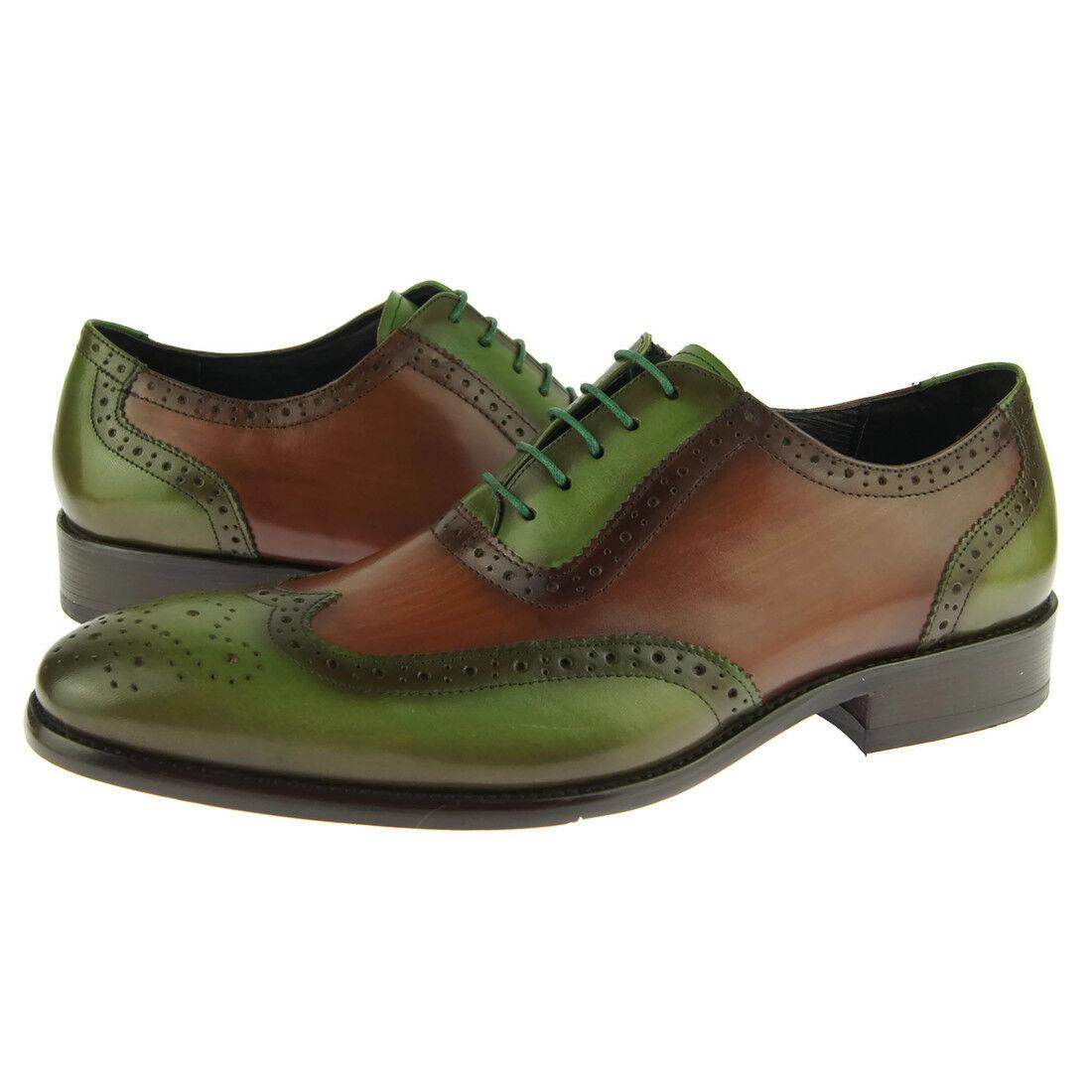 Carrucci Leder Wingtip Oxford, Herren Kleid Schuhe, Olive   braun