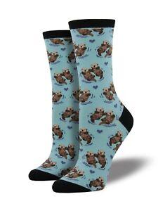 Blue-Otter-Socks-Ladies-Girls-Cute-Otters-Christmas-Secret-Santa-Gift-Socksmith