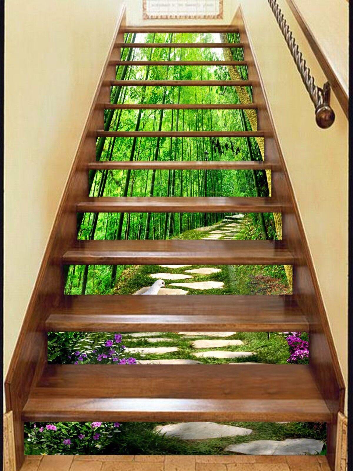 3D Bamboos Road 520 Stair Risers Decoration Photo Mural Vinyl Decal WandPapier UK