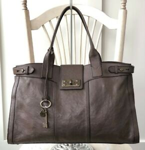 FOSSIL-Vtg-Reissue-Weekender-GRAY-TAUPE-Leather-Satchel-Overnight-Tote-Bag-HTF