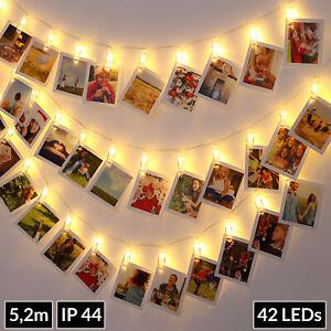Guirlande lumineuse à pince photo 42 LED télécommande photo clip chaîne lumineux
