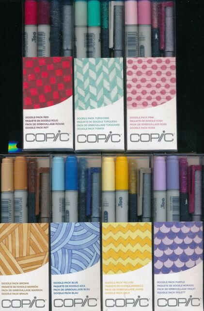 COPIC 4 piece Doodle Packs NEW Japan Red Turquoise BrownPurple Yellow Blue Pink
