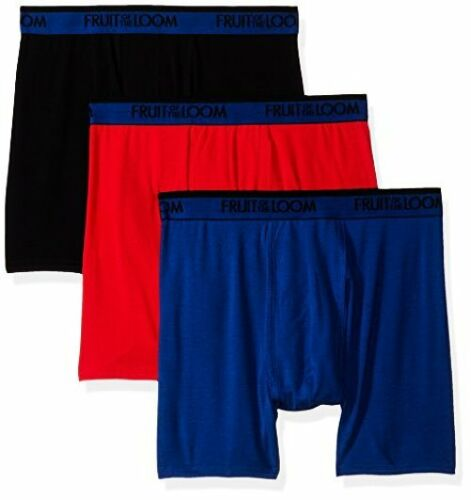 Pick SZ//Color. Fruit of the Loom Mens 3-Pack Premium Cool Blend Boxer Brief L