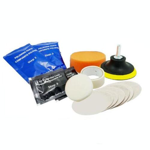 Plástico Faro Coche Reparación de restauración de limpieza de lente KIT de herramientas de pulido