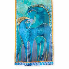 Laurel Burch 100% Silk Oblong Scarf Teal With Gold Accents Native Horses New