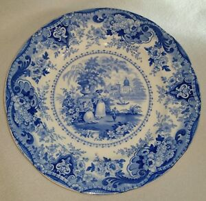 1822-1841-Ralph-Hall-Blue-Staffordshire-Transferware-Plate-Italian-Buildings-10-034