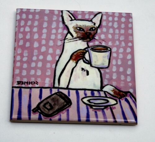 siamese cat at a coffee shop animal art tile picture animals impressionism