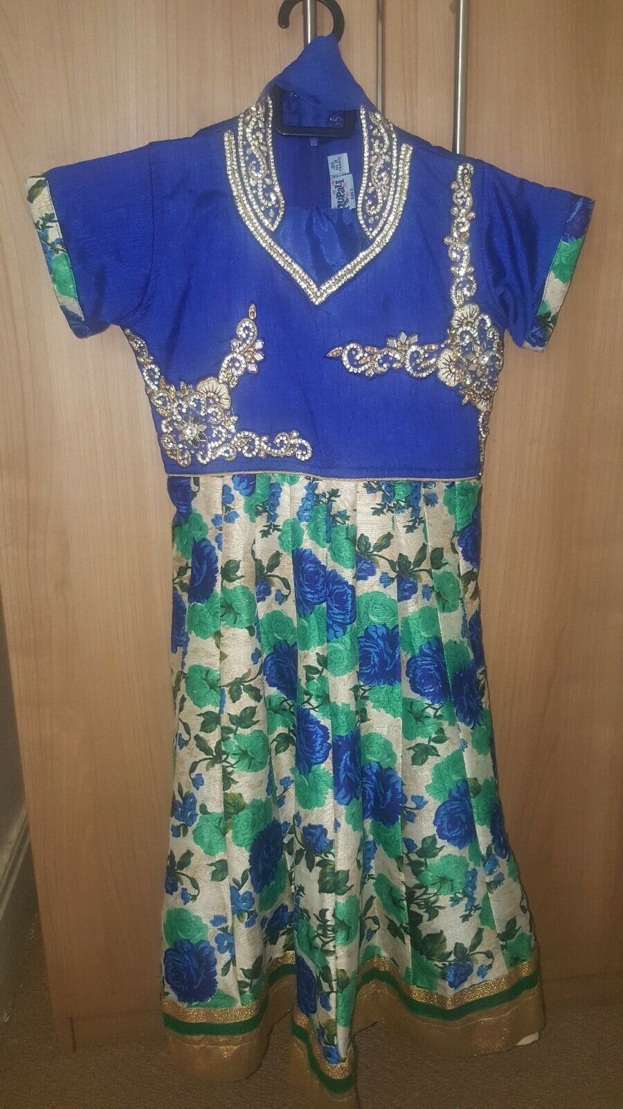 Girls Royal Blue Asian Churidaar printed Suit 10-11 yrs with gold stonework
