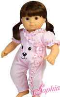 Sale Pink Polka Dot Bear Face Romper For Bitty Baby + Twins Doll Clothes