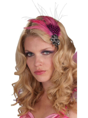 Pink Feather Black Rhinestone Pixie Fairy Costume Accessory Hair Clips