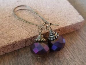 Metallic-Purple-Beaded-Earrings-Czech-Glass-Bronze-Dangle-Handmade-In-USA