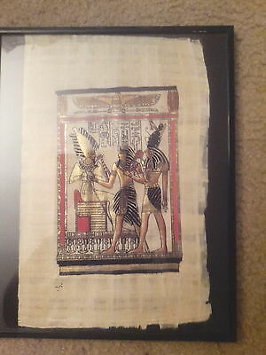 Egyptian Papyrus - Printed image of 3 Egyptian Figures - Painting - Framed