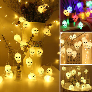 10-40LED-Skull-String-Fairy-Lights-Lantern-Party-Home-Props-Halloween-Decoration