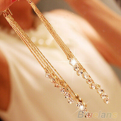 Women Popular Rhinestone Party Drop Long Chain Tassels Hook Linear Earrings Hot