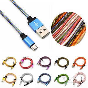 0-2-3M-METAL-Braided-Aluminum-Micro-USB-Data-amp-Sync-Charger-Cable-For-Cell-Phones