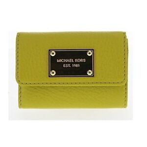8a4eeb863218 MICHAEL KORS JET SET ITEM GREEN APPLE LEATHER,GOLD,COIN PURSE,KEY ...