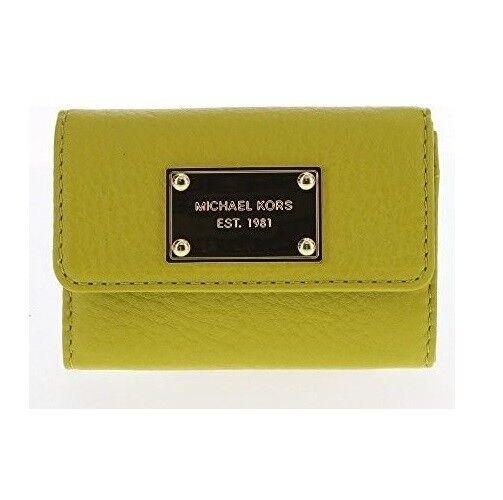 2209dcf064bdee Michael Kors Jet Set Item Green Apple Leather Gold Coin Purse Key Ring  Wallet for sale online   eBay