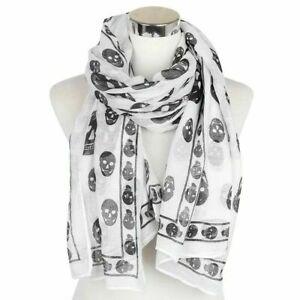 Ladies Cute Punk Pirate Skull /& bone Chiffon style Scarf 10 Colours UK Seller