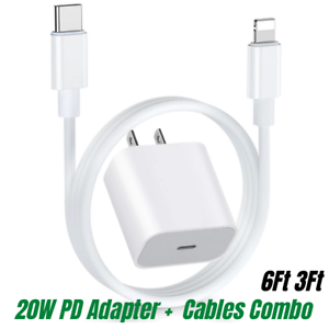 20W PD Fast Power Adapter Wall Charger USB-C to iPhone Cable For iPhone 12 11 XR
