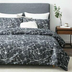 Efecto-de-marmol-negro-Funda-De-Edredon-amp-Funda-De-Almohada-Juego-De-Cama-Individual-Doble-King