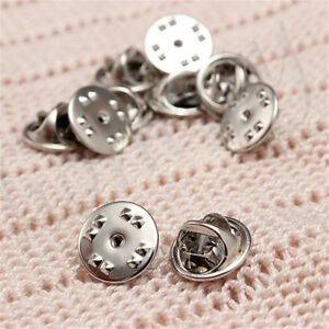20-50-100pcs-Silver-Metal-Badges-Hat-Tac-Lapel-Pin-Back-Butterfly-Squeeze-Clasp