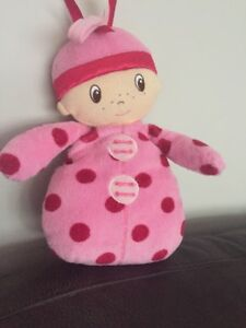 MOTHERCARE-MY-FIRST-DOLL-PINK-SPOTTY-SOFT-BABY-COMFORTER-SOOTHER-HUG-TOY-cds