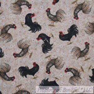 BonEful-FABRIC-FQ-Cotton-Quilt-Tan-Brown-Cream-Flower-Black-Rooster-Kitchen-Farm