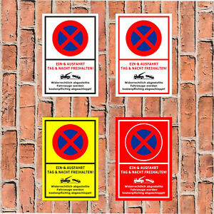 Einfahrt Tag und Nacht freihalten Schild Widerrechtlich abgestellte Fahrzeuge we