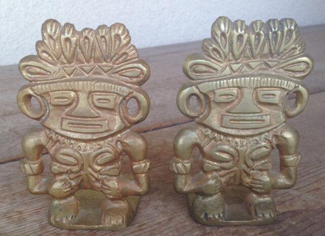 Pair Brass Metal Bookends Book Ends 2 Heavy Tikis Hawaiiana Aztec Warriors Gods