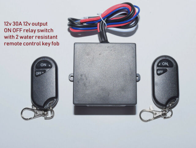12V 30A on off remote control relay switch with 2 water resistant key fob  RX10-2