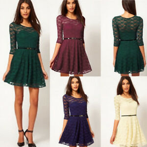 Details About Womens Spoon Neck 34 Sleeve Lace Skater Dress Include Belt Casual Mini Dresse