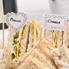 20 FOOD FLAGS CUPCAKE SANDWICH STICKS Vintage Romance Wedding Party Silver White