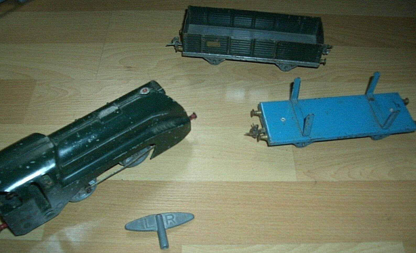 Train Le Rapide LR échelle O locomotive  clé  2 wagons en tôle 12 pcalienteos