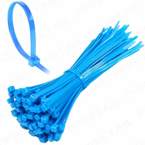 200x LONG BLUE CABLE TIES 200x4.8mm Wide Thick Nylon Plastic Zip Wire//Cord Wrap