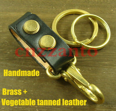 brass easy release Key ring Belt loop clip H447E First layer cowhide Leather