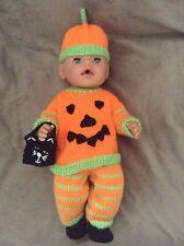 Tejer patrón-Disfraz de Halloween Calabaza se ajusta de 15 - 18 en muñeca bebé nacido