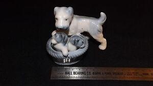 Vintage-1950-039-s-60-039-s-Porcelain-Scottie-Dog-With-Basket-of-Pups