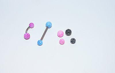 piercing  Nombril langue billes x 8 uv néon  1.6x 5 mm  et 1.6x6 cb178