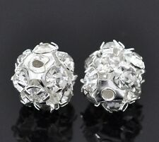 12 Round Silver Plated Rhinestone Fireball Prong-Set Spacer Beads 8mm bme0015a