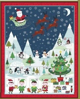 Blu Babbo Natale Festive Trapunta Cuscino 100/% COTONE PANNELLO 8 Immagini Babbo Natale