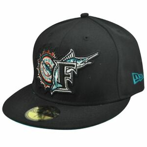 MLB Florida Marlins New Era 59Fifty 5950 Fitted Hat Cap Black Old ... 35ab85fccd47