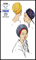 Darted Cloche Hat Cap Fabric Sewing Pattern 5789 Vogue Cancer Chemo Alopecia