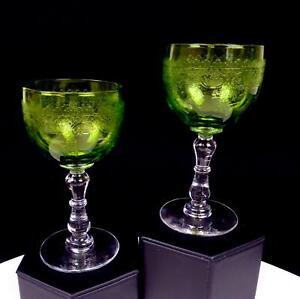 MOSER-BOHEMIAN-2-PIECE-ETCHED-VASELINE-GLASS-CLEAR-WAFER-STEM-5-034-WINE-GLASSES