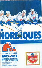 1990-91 QUEBEC NORDIQUES NHL HOCKEY POCKET SCHEDULE - FRENCH AND ENGLISH