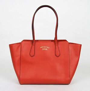 New Gucci Red Leather Small Swing Tote Handbag w Trademark 354408 ... 092128273